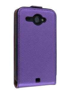 HTC ChaCha Slim Synthetic Leather Flip Case - Purple Leather Flip Case
