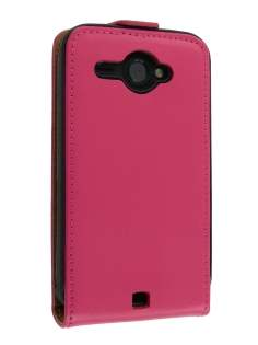 HTC ChaCha Slim Synthetic Leather Flip Case - Pink Leather Flip Case