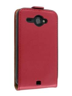 HTC ChaCha Slim Synthetic Leather Flip Case - Red Leather Flip Case