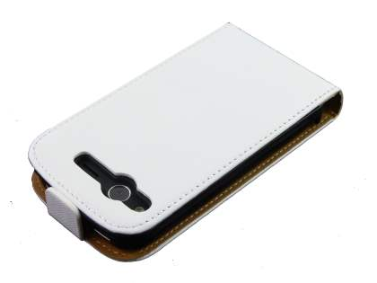 HTC Desire S Slim Synthetic Leather Flip Case - White