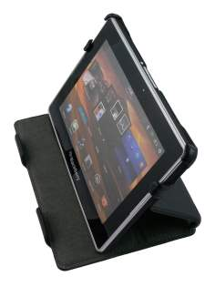 BlackBerry PlayBook Synthetic Leather Flip Case with Stand - Black Leather Flip Case