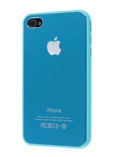 Brushed Aluminium Case plus Screen Protector for iPhone 4 Only - Tender Blue Hard Case