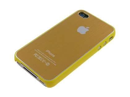 Brushed Aluminium Case plus Screen Protector for iPhone 4 Only - Vegas Gold