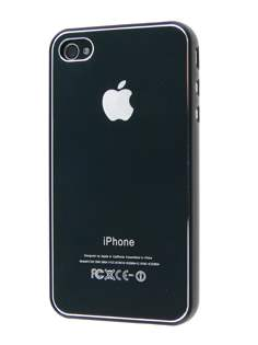 Brushed Aluminium Case plus Screen Protector for iPhone 4 Only - Metallic Black Hard Case