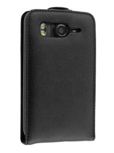 Genuine Leather Flip Case for HTC Desire HD - Black Leather Flip Case
