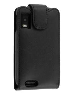 Genuine Leather Flip Case for Motorola ATRIX 4G - Black Leather Flip Case