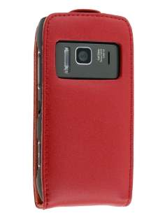 Genuine Leather Flip Case for Nokia N8 - Red Leather Flip Case