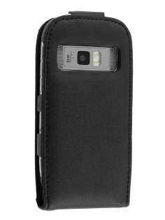 Nokia C7 Genuine Leather Flip Case - Black