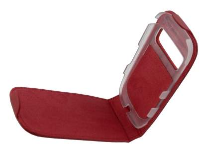 Genuine Leather Flip Case for Nokia C7 - Red