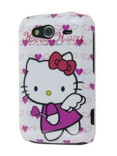 HTC Wildfire S Hello Kitty Back Case - White/Pink Hard Case