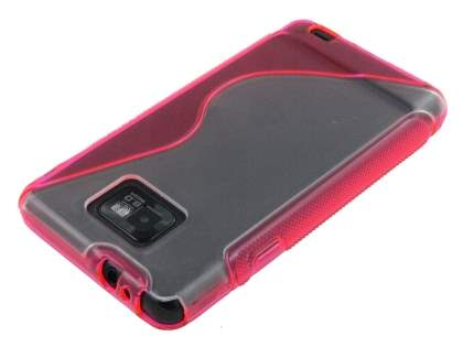 Wave Case for Samsung I9100 Galaxy S2 - Pink/Frosted Clear