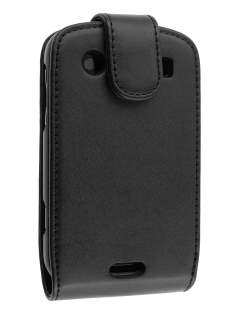 BlackBerry Bold 9900 Synthetic Leather Flip Case - Black Leather Flip Case