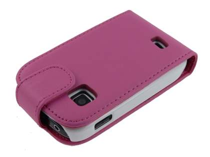 Synthetic Leather Flip Case for Samsung Galaxy Fit S5670 - Pink