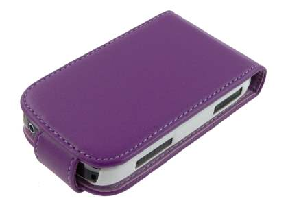 Synthetic Leather Flip Case for Samsung Galaxy Fit S5670 - Purple