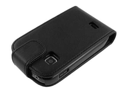 Synthetic Leather Flip Case for Samsung Galaxy Fit S5670 - Black