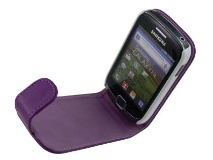 Samsung Galaxy Fit S5670 Synthetic Leather Flip Case - Purple