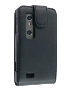 Synthetic Leather Flip Case for LG Optimus 3D P920 - Black