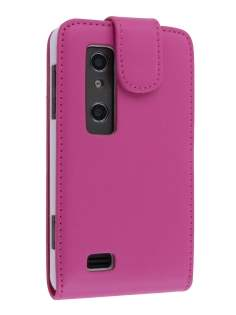 Synthetic Leather Flip Case for LG Optimus 3D P920 - Pink Leather Flip Case