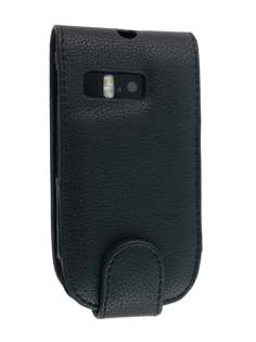 Synthetic Leather Flip Case for Nokia E6 - Black Leather Flip Case