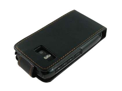 Synthetic Leather Flip Case for Nokia E6 - Black