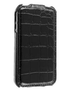 Synthetic Leather Flip Case for iPhone 4/4S - Black Leather Flip Case