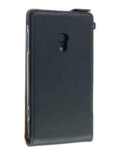 Synthetic Leather Flip Case for Sony Ericsson Xperia x10 - Black Leather Flip Case
