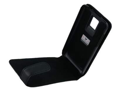 LG Optimus 2X P990 Genuine Leather Flip Case - Black