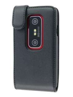 Synthetic Leather Flip Case for HTC EVO 3D - Black Leather Flip Case