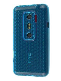 TPU Gel Case for HTC EVO 3D - Diamond Blue Soft Cover