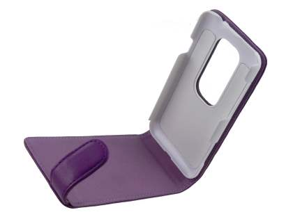 Synthetic Leather Flip Case for HTC EVO 3D - Purple