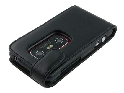 Synthetic Leather Flip Case for HTC EVO 3D - Black