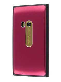 Brushed Aluminium Case for Nokia N9 - Burgundy Red