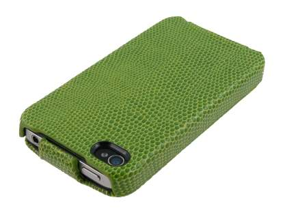 iPhone 4/4S Slim Synthetic Leather Flip Case - Lime Green