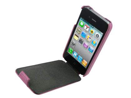 Synthetic Leather Flip Case for iPhone 4/4S - Baby Pink