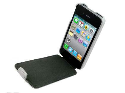 Synthetic Leather Flip Case for iPhone 4/4S - White
