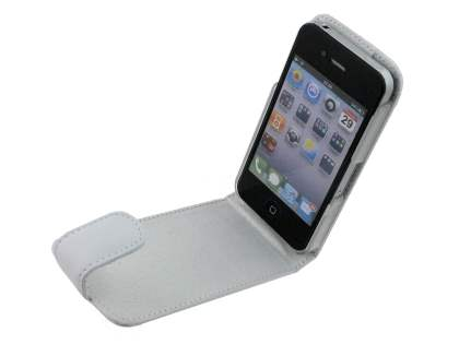 Genuine Leather Flip Case for iPhone 4/4S - White