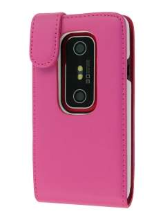 Synthetic Leather Flip Case for HTC EVO 3D - Pink Leather Flip Case