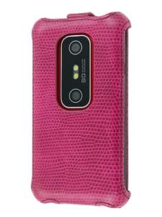 Synthetic Leather Flip Case for HTC EVO 3D - Hot Pink Leather Flip Case