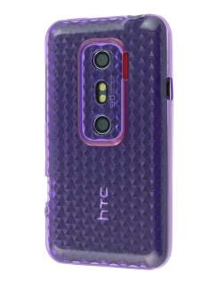 TPU Gel Case for HTC EVO 3D - Diamond Purple Soft Cover