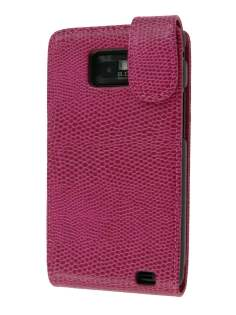 Synthetic Snakeskin Leather Flip Case for Samsung I9100 Galaxy S2 - Hot Pink Leather Flip Case