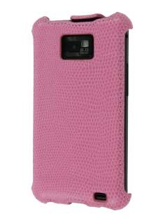 Synthetic Leather Flip Case for Samsung I9100 Galaxy S2 - Baby Pink Leather Flip Case