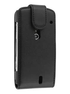 Synthetic Leather Flip Case for Sony Ericsson Xperia neo - Black Leather Flip Case