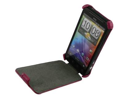 HTC EVO 3D Slim Synthetic Leather Flip Case - Hot Pink