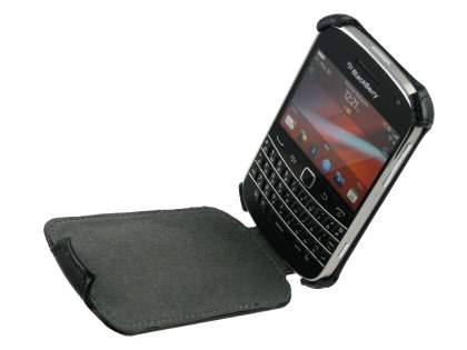 BlackBerry Bold 9900 Slim Synthetic Leather Flip Case - Classic Black