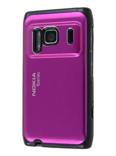 Nokia N8 Brushed Aluminium Case plus Screen Protector - Hot Pink Hard Case