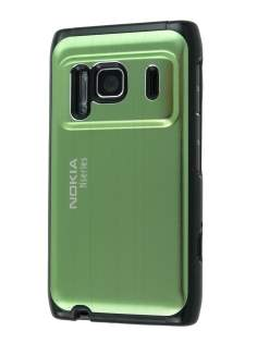 Nokia N8 Brushed Aluminium Case plus Screen Protector - Lime Green Hard Case