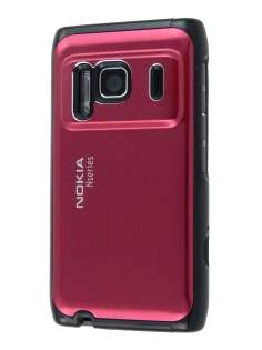 Nokia N8 Brushed Aluminium Case plus Screen Protector - Burgundy Red Hard Case