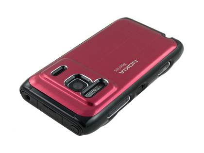Nokia N8 Brushed Aluminium Case plus Screen Protector - Burgundy Red