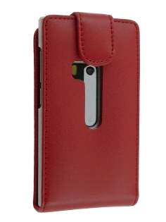 Genuine Leather Flip Case for Nokia N9 - Red Leather Flip Case
