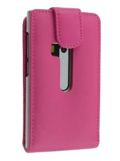 Genuine Leather Flip Case for Nokia N9 - Pink Leather Flip Case